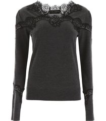 dolce & gabbana pullover with lace inserts