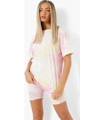 oversized tie dye t-shirt en fietsbroekje, pink
