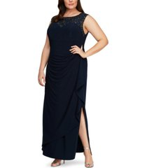 alex evenings plus size rhinestone-detailed gown