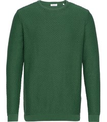 field crew neck knit - gots/vegan gebreide trui met ronde kraag groen knowledge cotton apparel
