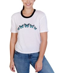 rebellious one juniors' butterfly-graphic ringer t-shirt