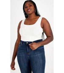 nina parker trendy plus size sleeveless ribbed knit bodysuit, created for macy's