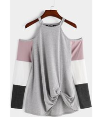 color block con hombros descubiertos cruzados detalles delanteros camisetas con mangas largas a rayas
