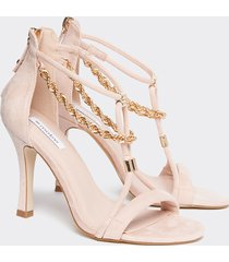 motivi sandali effetto suède con catena donna rosa