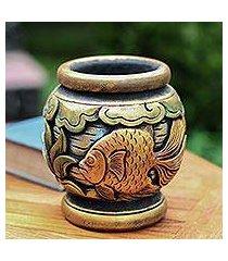 mahogany decorative vase, 'balinese goldfish' (indonesia)