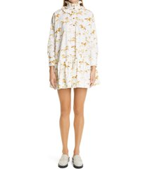 women's ganni animal print ruffle collar long sleeve organic cotton poplin dress, size large/x-large - ivory