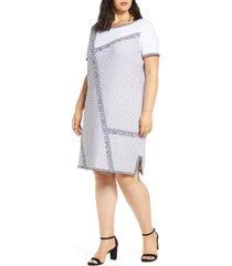 plus size women's ming wang fringe trim a-line sweater dress
