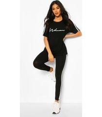 high waist double side stripe legging, black