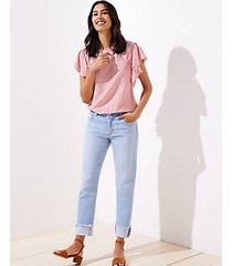 loft petite frayed flip cuff boyfriend jeans in light indigo