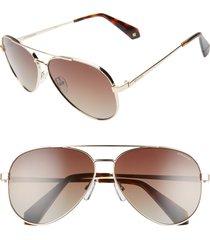 women's polaroid 61mm polarized aviator sunglasses -