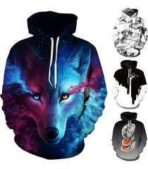 wolf print autumn winter fashion casual men women couple hoodie tops long sleeve