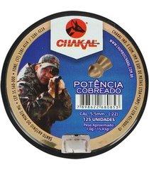 chumbinho chakal cobreado potência 5.5mm 125un.