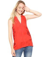 blusa colette sin manga roja desigual - calce regular