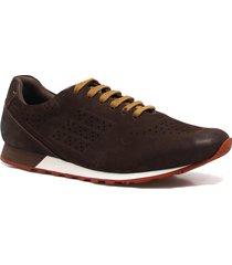 sapatênis zariff shoes casual couro marrom