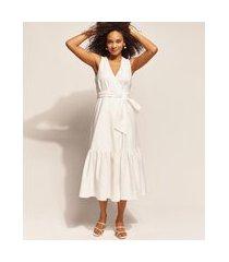 vestido feminino emi beachwear longo transpassado sem manga decote v off white
