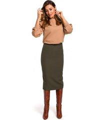 rok style s171 kokerrok met hoge taille - kaki