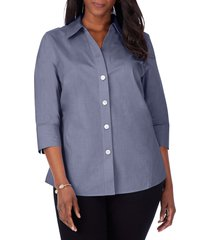 foxcroft paityn non-iron cotton shirt, size 14w in midnight sky at nordstrom