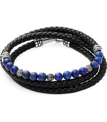 lapis, stainless steel and leather wrap bracelet