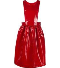 comme des garçons girl faux patent leather pinafore dress - red