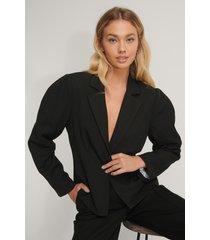 na-kd classic gathered short blazer - black