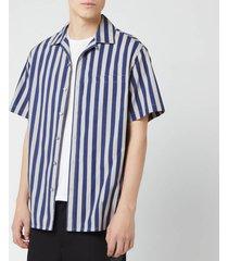 lanvin men's striped bowling shirt - dark blue/light grey - 38cm/15  - blue/grey/multi