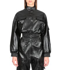 faux leather cargo jacket
