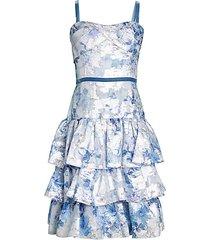 jacquard metallic ruffle fit-&-flare dress