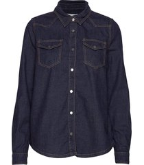lau denim shirt overhemd met lange mouwen blauw minus