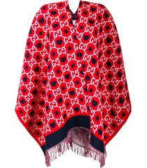 gucci reversible gg fringed poncho - red