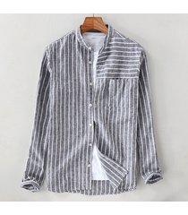 manica lunga a maniche lunghe da uomo in cotone a righe traspirante, vestibilità comoda, casual camicia
