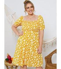 talla grande cuadrado amarillo cuello calico fruncido de manga corta midi vestido