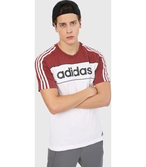 camiseta blanco-vinotinto adidas performance essentials tape