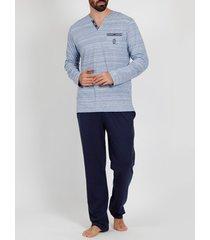 pyjama's / nachthemden admas for men pyjama broek top lange mouwen light stripes blauw admas