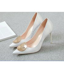 pp413 elegant high-heeled pump w gold plate top, us size 1-9.5, white