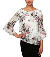 alex evenings floral-print asymmetrical-hem bell-sleeve tiered top