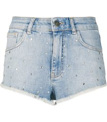 twin-set stud-embellished denim shorts - blue