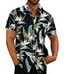 hombres playa hawaiian tropical summer short sleeve camisa