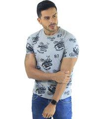 camiseta hombre manga corta slim fit gris marfil denim