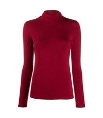 majestic filatures blusa de tricô com gola alta - vermelho