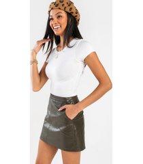 luna vegan leather mini skirt - olive