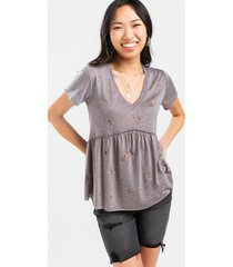 izzey floral babydoll top - heather gray