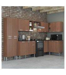 cozinha completa com armário e balcáo com tampo 7 peças pequim soul multimóveis carvalho avelá