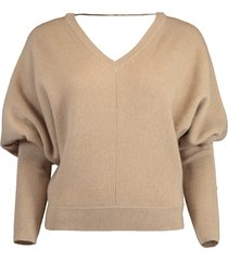cashmere bubble sleeve pullover