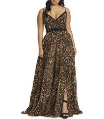 mac duggal women's cheetah-print chiffon gown - cheetah - size 20w