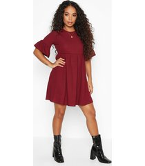petite ribbed frill sleeve smock dress, berry