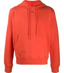 off-white stencil slim-fit hoodie - orange