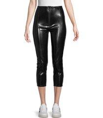 lisa marie fernandez women's front-zip cropped pants - black - size xs