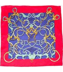 hermes l'instruction du roy handkerchief red silk scarf red sz: