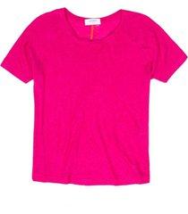 blusa de linho decote canoa pink pink/g