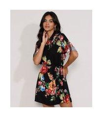 vestido chemise feminino estampado floral com faixa para amarrar manga longa preto